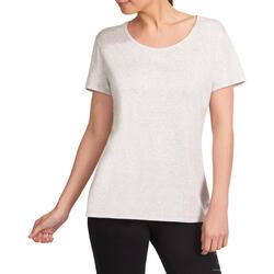 Dames T-shirt met korte mouwen voor gym en pilates, regular fit, gemêleerd - 958252