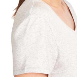 Dames T-shirt met korte mouwen voor gym en pilates, regular fit, gemêleerd - 958290