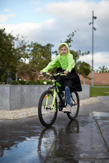 Poncho vélo ville 900 enfants jaune fluo (lime) noir