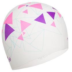 矽膠印花泳帽 - 三角圖案/白色