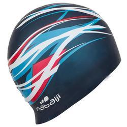 矽膠印花泳帽 - Tri 白色 軍藍色 均碼