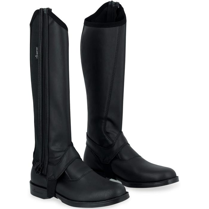Mini-chaps équitation adulte CLASSIC 100 synthétique noir - 963855