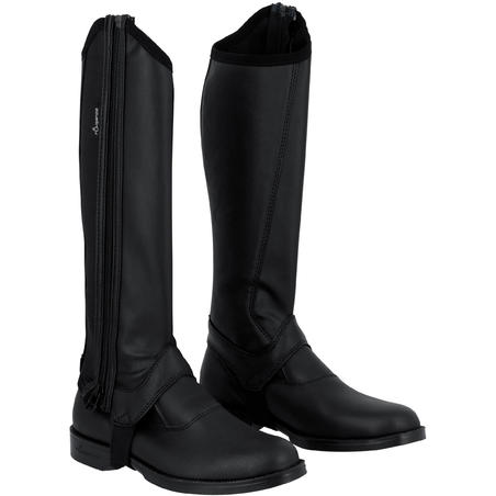 Classic 140 Children's Horse Riding Synthetic Half Chaps - Black