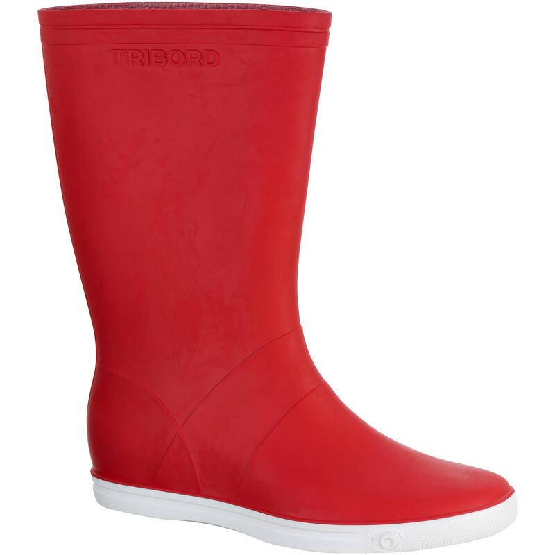 Botas de Agua Katiuskas Impermeable Hombre Muje Barco Vela Tribord Rojo