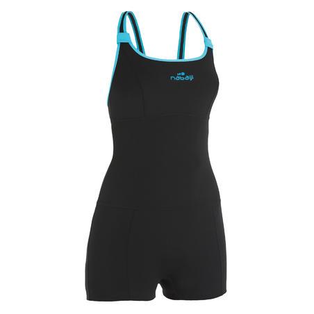 Dary women's one-piece aquafitness legsuit shorty swimsuit - black blue