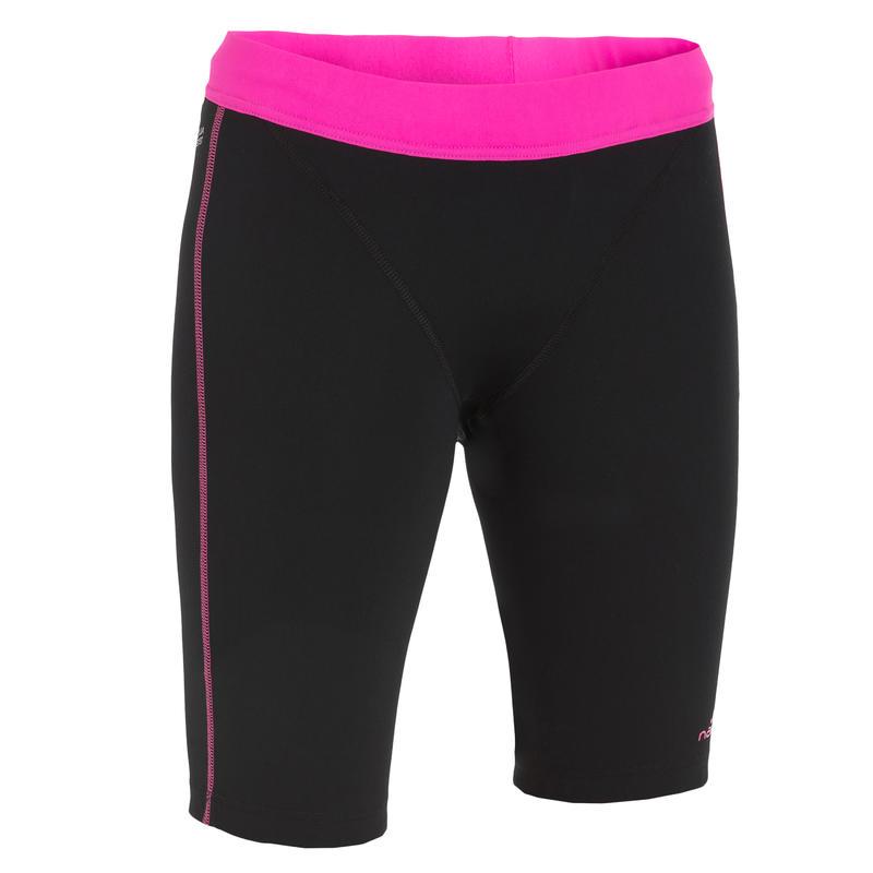 กางเกงว่ายน้ำยาวเหนือเข่าสำหรับการออกกำลังกายในน้ำรุ่น Aquabottom (สีดำ/ชมพู)