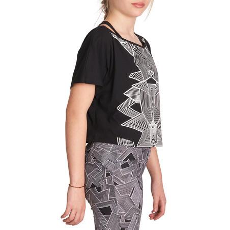 Girls' Cropped Short-Sleeved Dance T-Shirt - Black