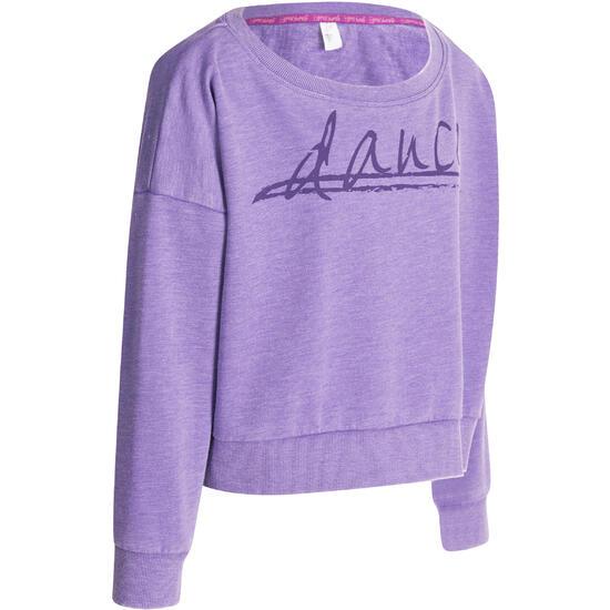 Kort, wijd sweatshirt met lange mouwen voor meisjes, oranje. - 966322