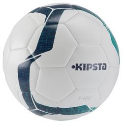 Balón de fútbol F100 híbrido talla 4 blanco verde
