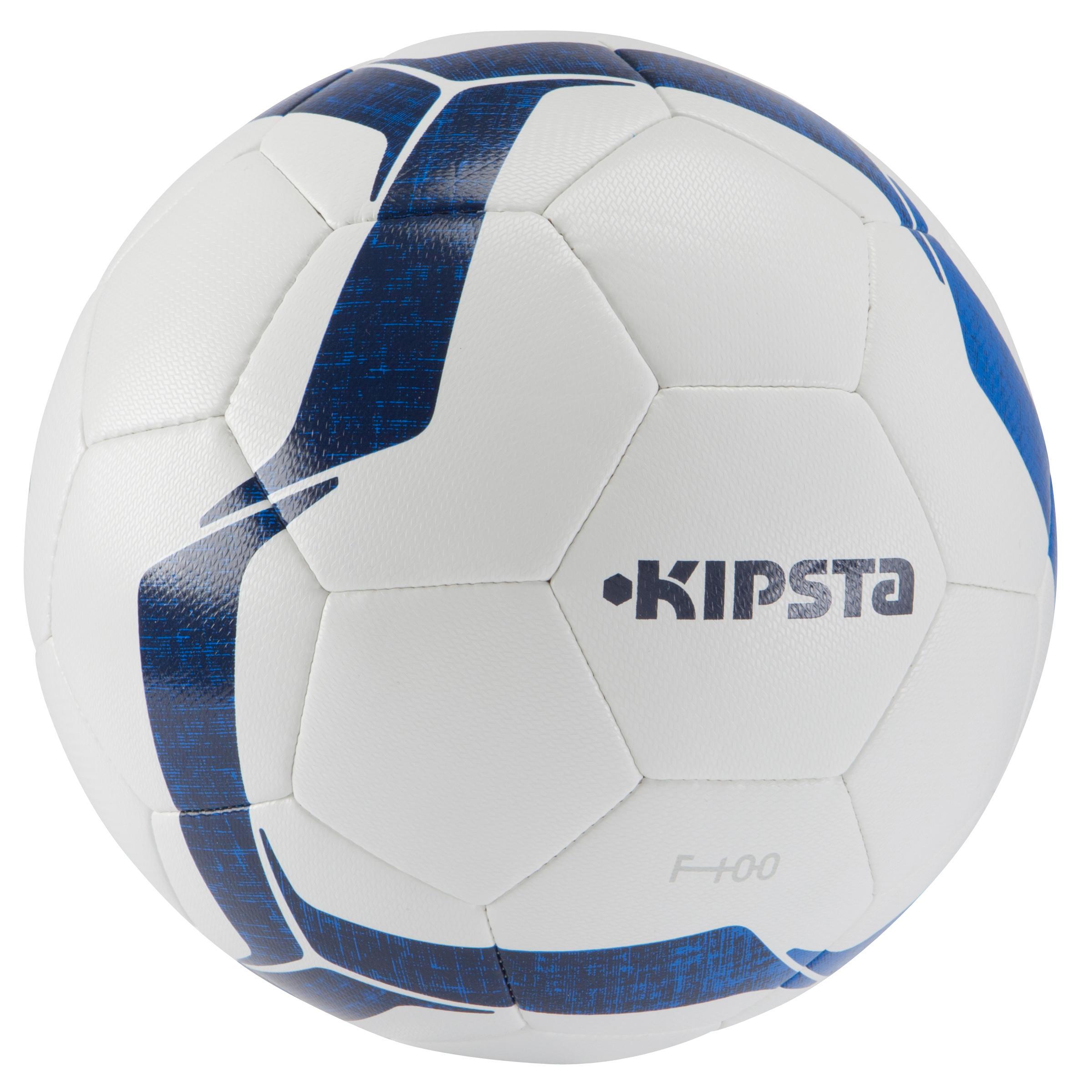 Ballon de soccer F100 hybride taille 3 blanc bleu