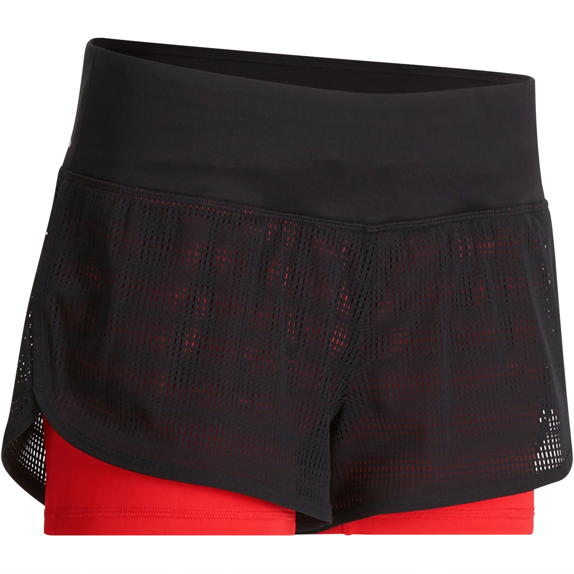 2-in-1 fitnessshort dames, zwart-rood