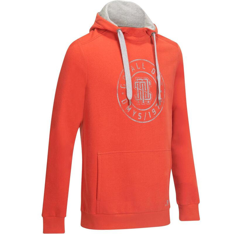 Fitness hoodie met zakken voor heren oranje/grijs