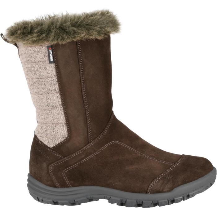 Bottes de randonnée neige Enfant SH900 chaudes imperméables cuir Cafe - 97110