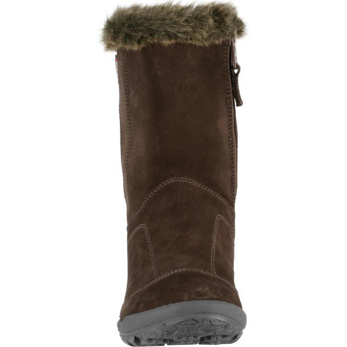 Bottes de randonnée neige Enfant SH900 chaudes imperméables cuir Cafe - 97118