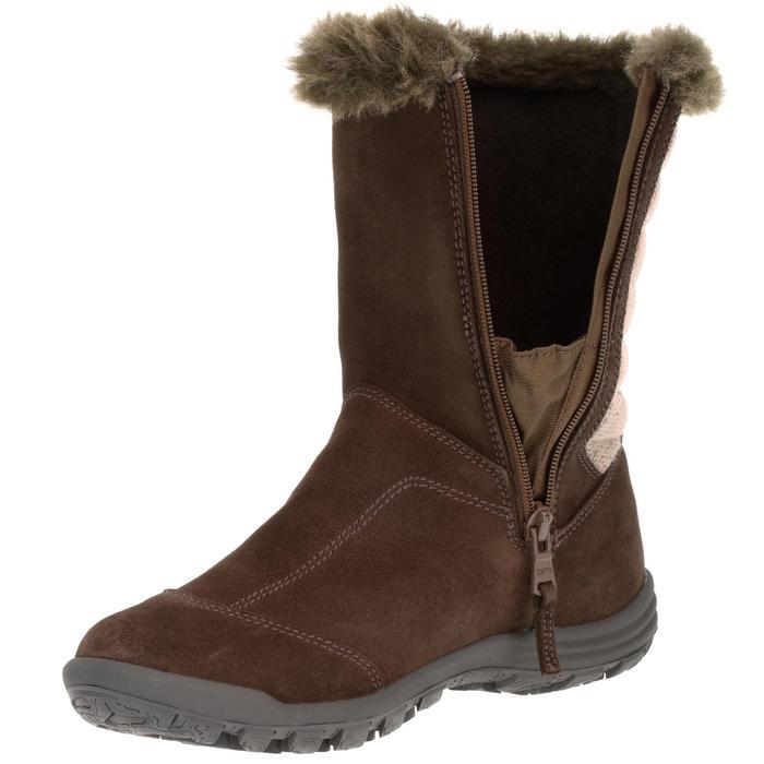 Bottes de randonnée neige Enfant SH900 chaudes imperméables cuir Cafe - 97125