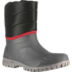 男款雪地健行保暖中筒靴SH100-黑色。