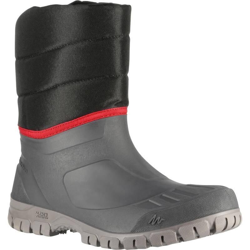 PÁNSKÉ BOTY NA ZIMNÍ TURISTIKU Turistika - SNĚHULE SH 100 WARM ČERNO-ŠEDÉ QUECHUA - Turistická obuv