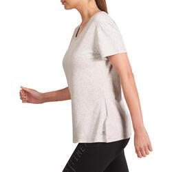 Dames T-shirt met korte mouwen voor gym en pilates, regular fit, gemêleerd - 976640