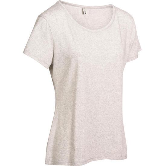 Dames T-shirt met korte mouwen voor gym en pilates, regular fit, gemêleerd - 976715