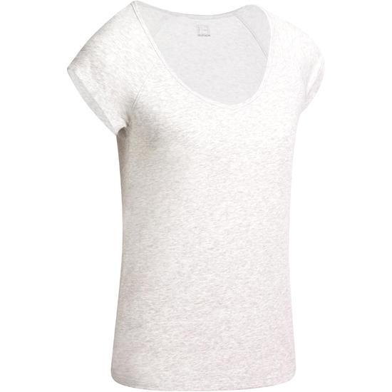 Dames T-shirt met korte mouwen voor gym en pilates, slim fit - 976778