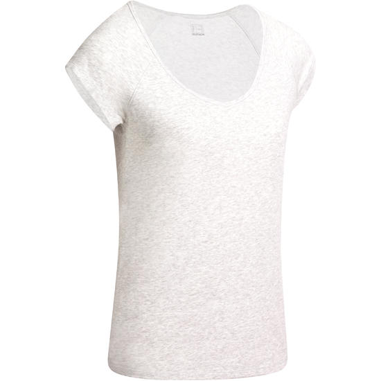 Dames T-shirt voor gym en pilates, slim fit - 976778