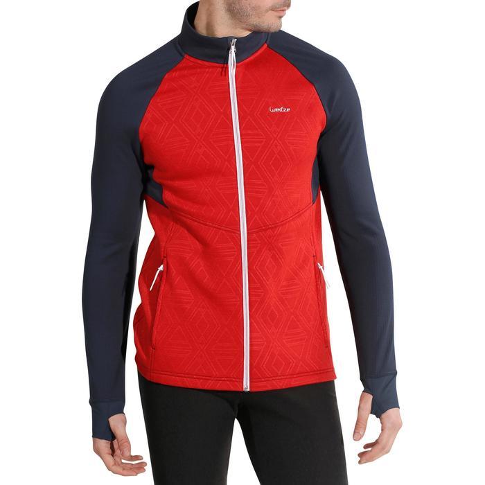 Sweater ski heren Mid Warm 500 rood blauw