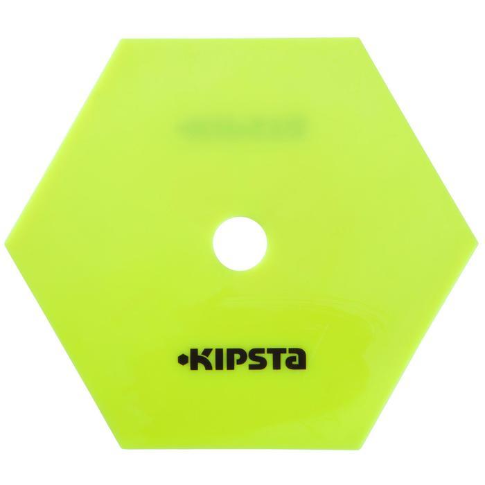 Set van 10 extra platte zeshoekige markeerschijven geel
