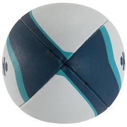 Balón rugby R300 talla 5 blanco azul turquesa naranja