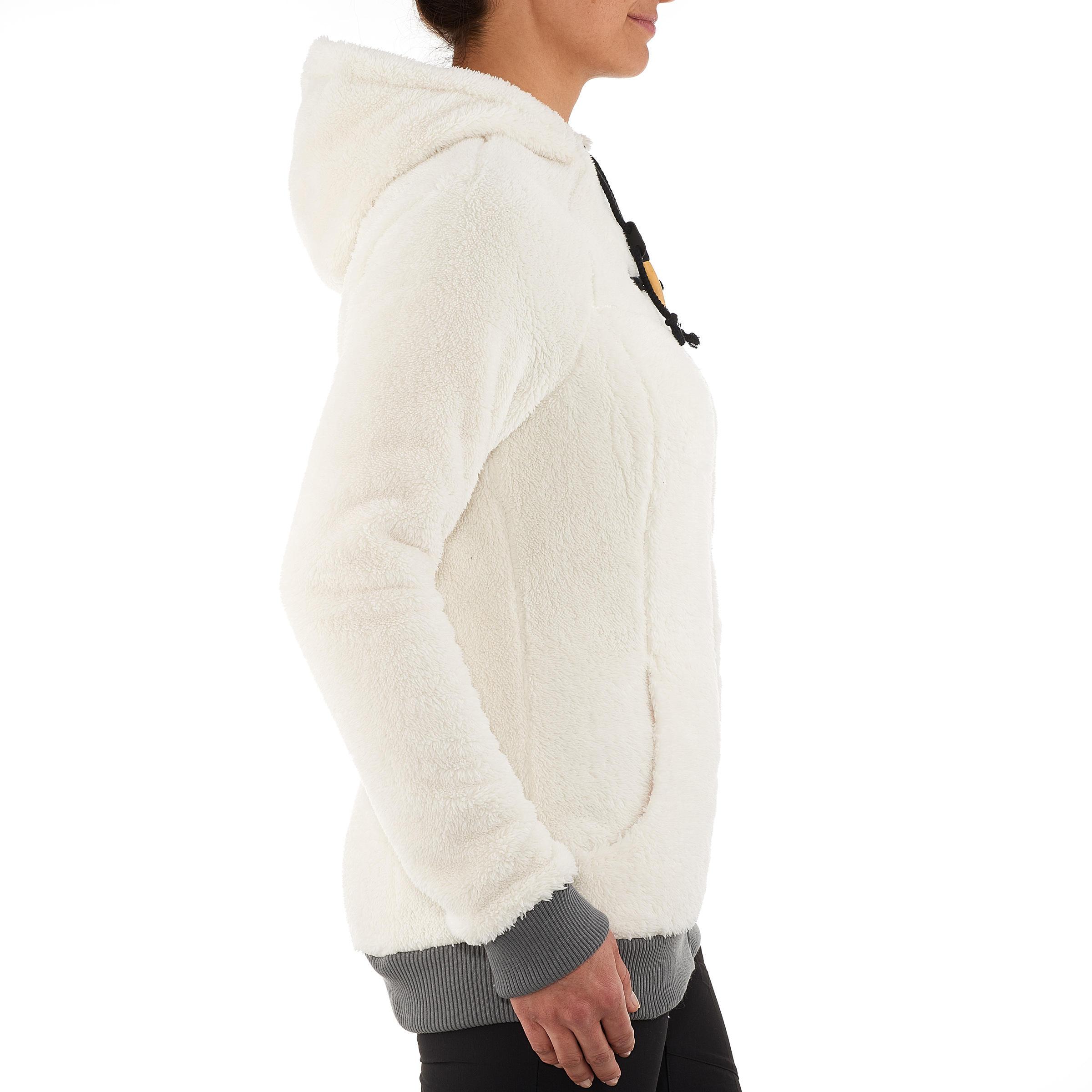 Veste polaire de randonnée neige femme SH100 ultra-warm blanc