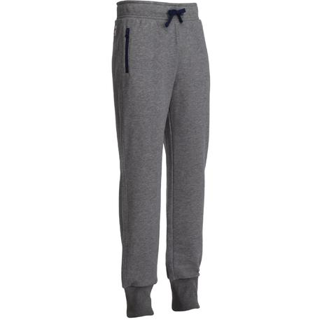 Pantalon 520 chaud slim Gym garçon poches gris | Domyos by Decathlon