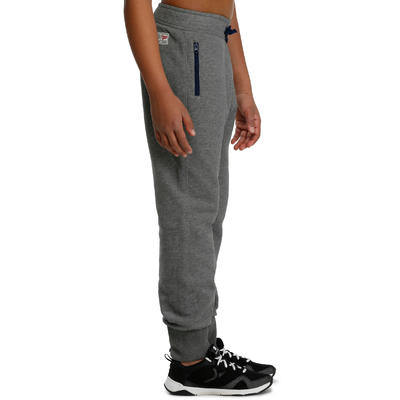 520 Boys' Warm Slim-Fit Gym Bottoms with Pockets - Grey