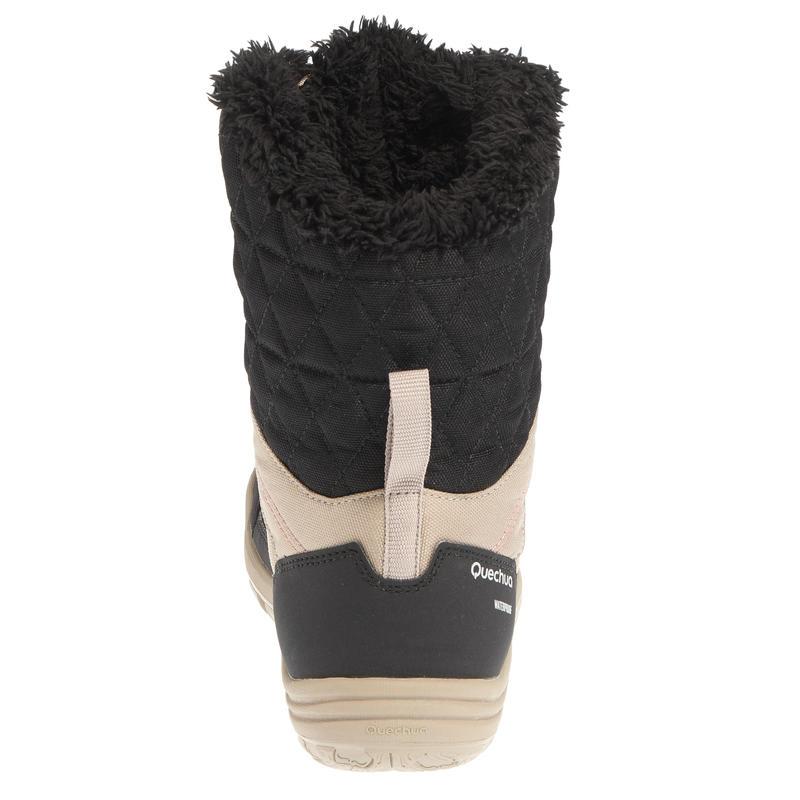Women's Arpenaz 100 high Warm waterproof hiking shoes Beige