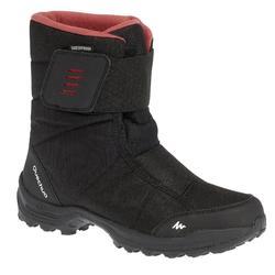 女款超保暖雪地健行靴SH100-黑色/粉紅色