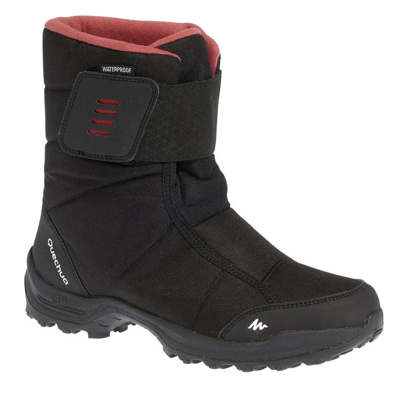 WOMEN SNOW HIKING WARM BOOTS Hiking - Arpenaz 100 Warm Women's Snow Boots - Black QUECHUA - Outdoor Shoes