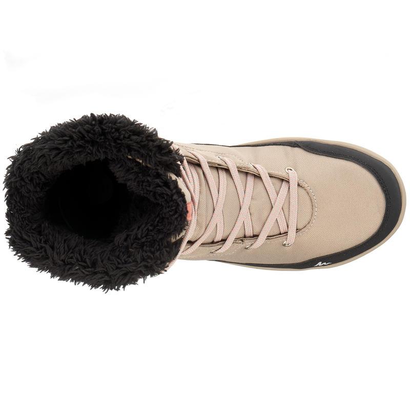Chaussure Randonnée Arpenaz 100 high Warm Imperméable Femme Beige
