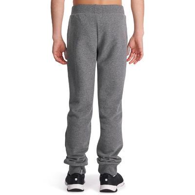500 Girls' Warm Regular-Fit Gym Bottoms With Pockets - Grey