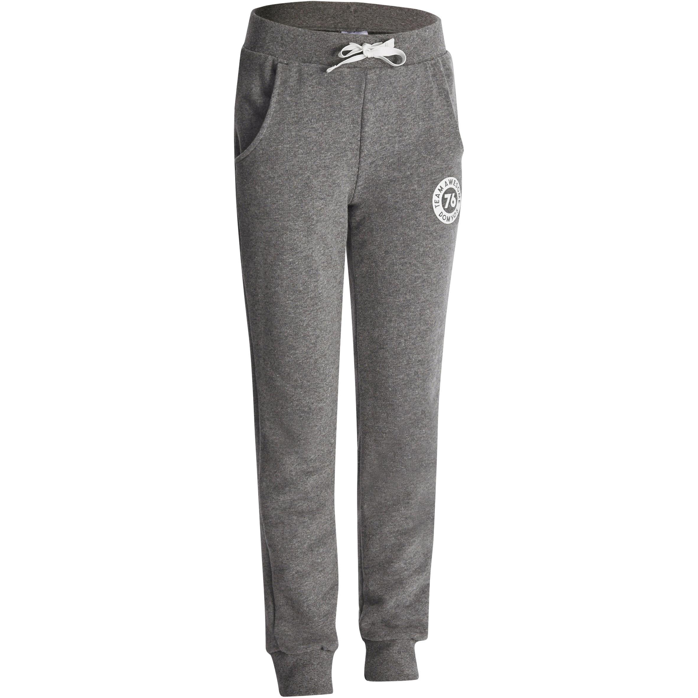 Pantalón recto de felpa fitness niña gris