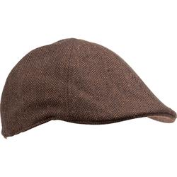 Casquette chasse tweed plate marron