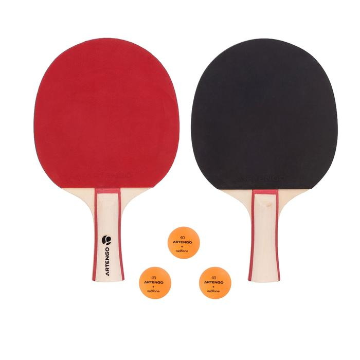 SET TENNIS DE TABLE FREE DE 2 RAQUETTES FR 130 / PPR 130 2* INDOOR ET 3 BALLES - 982743