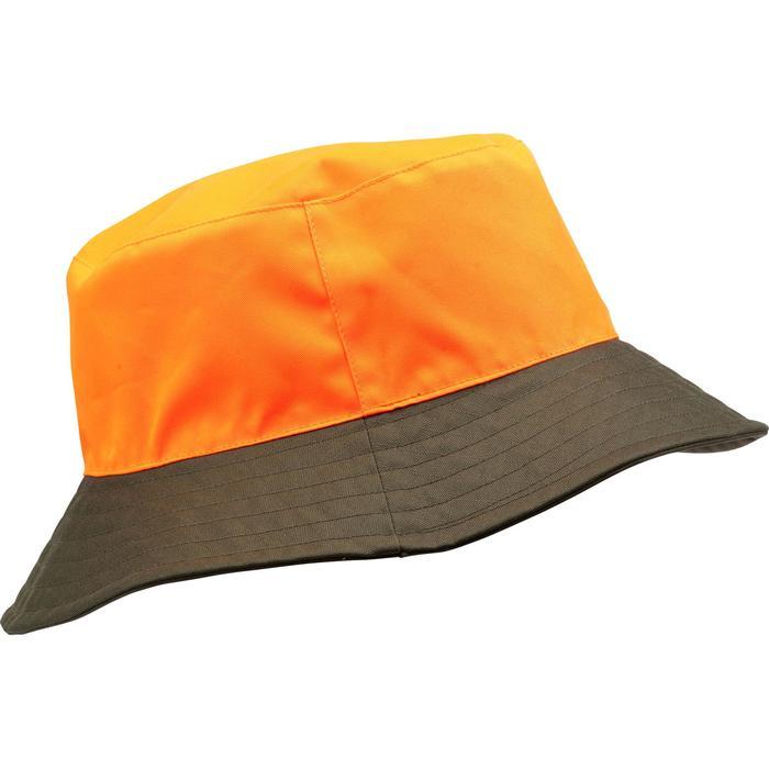 Gorro Caza Solognac Bgp Impermeable Reversible Verde Naranja Fluo