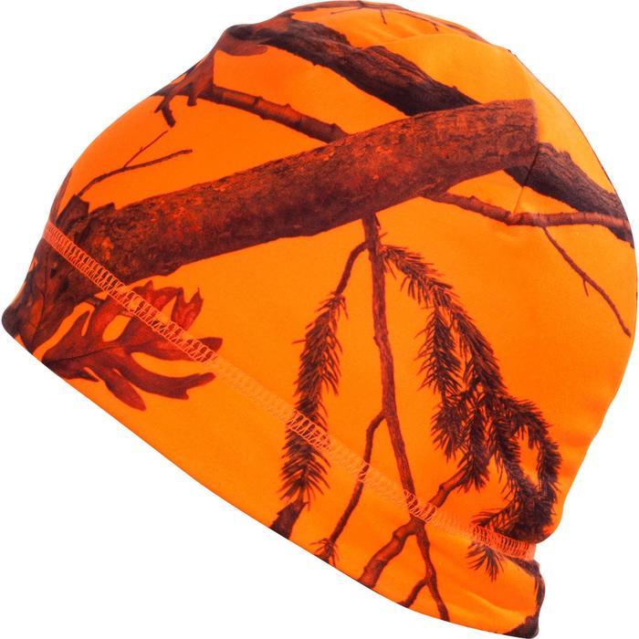 Gorro Caza Solognac Taiga 500 Calido Reversible Verde Naranja Fluo