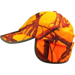 CASQUETTE A RABAT CHASSE CAMOUFLAGE ORANGE