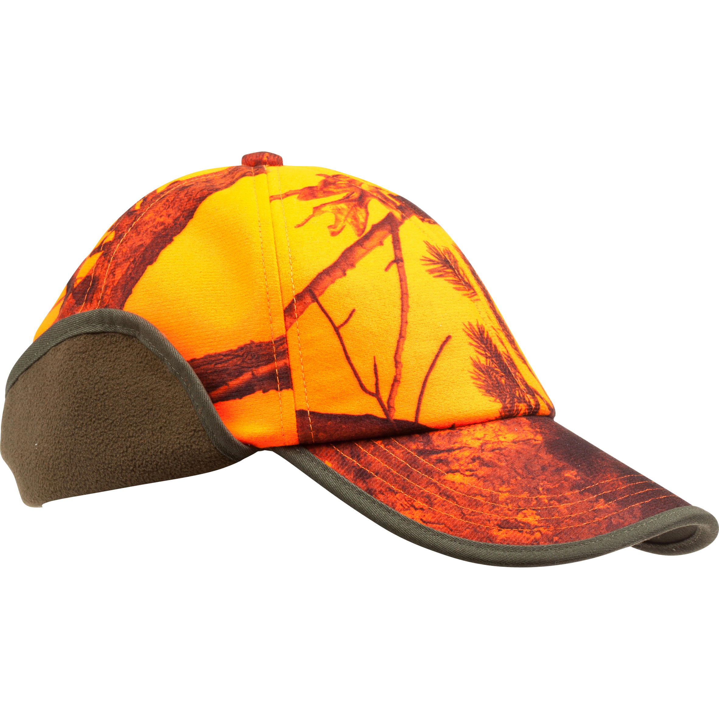 CAMOUFLAGE HUNTING CAP WITH EAR FLAPS - ORANGE