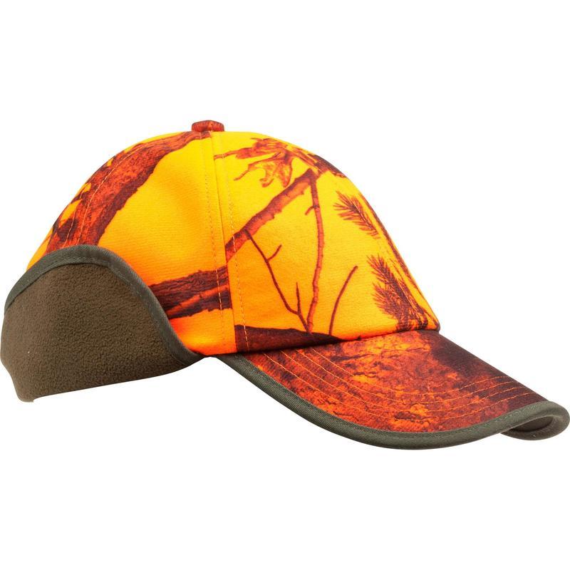 Lovecká kšiltovka s klapkami na uši maskovací oranžová