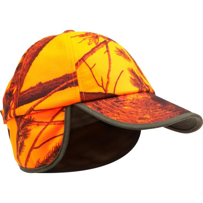 CASQUETTE CHASSE A RABAT CAMOUFLAGE ORANGE