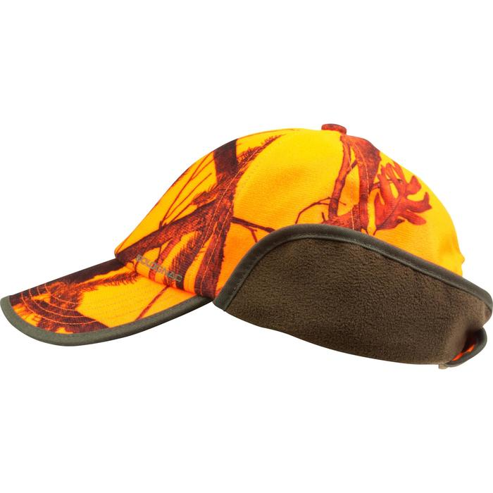 Pet met oorkleppen voor de jacht camouflage oranje
