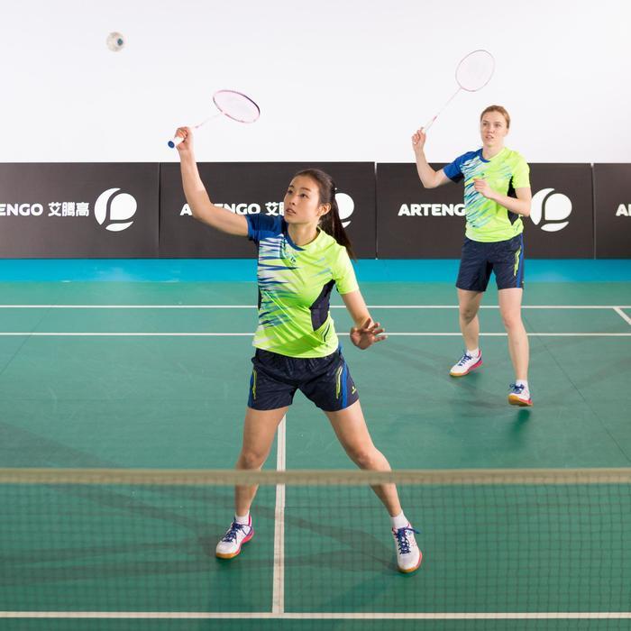 Damesshort 860 marineblauw/geel badminton