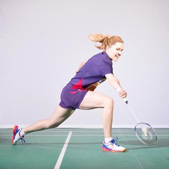 Dames T-shirt Dry roze/geel badminton tennis tafeltennis padel squash