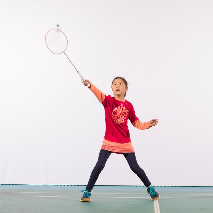 T-shirt Essential lange mouwen meisjes roze tennis/badminton/tafeltennis/padel/s