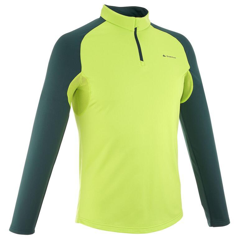 Heren T-shirt met lange mouwen Forclaz 100 Warm groen